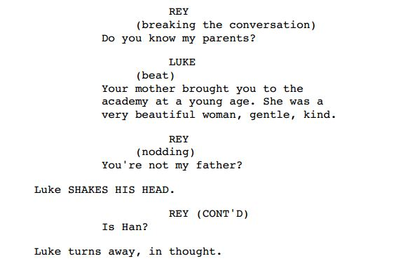 Possible Partial Episode VIII Script Leak
